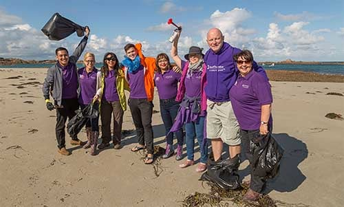 The team cleaning the beach in Guernsey